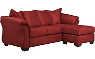 Ashley Darcy Microfiber Red Sofa Chaise