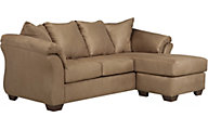 Ashley Darcy Microfiber Tan Sofa Chaise