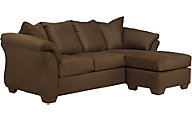 Ashley Darcy Microfiber Brown Sofa Chaise
