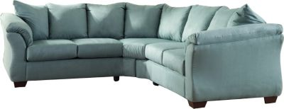 Ashley Darcy Microfiber Blue 2-Piece Sectional