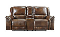 Ashley Jayron Leather Reclining Loveseat with Console