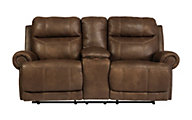 Ashley Austere Brown Reclining Loveseat with Console