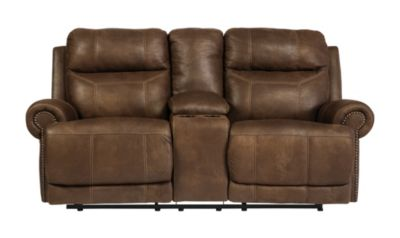Ashley Austere Brown Power Reclining Loveseat w/ Console