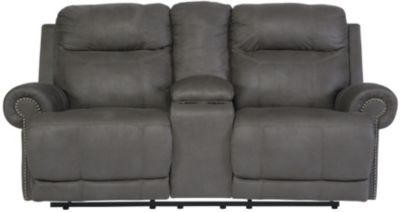 Ashley Austere Gray Reclining Loveseat with Console