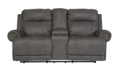 Ashley Austere Gray Power Reclining Loveseat With Console
