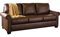 Ashley Lottie Brown Queen Sleeper Sofa with Memory Foam