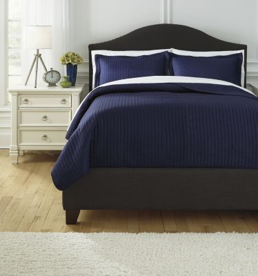 Ashley Raleda Navy 3-Piece Queen Coverlet Set