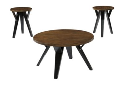 Ashley Ingel Round Coffee Table & 2 End Tables