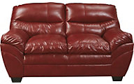 Ashley Tassler Cherry Bonded Leather Loveseat