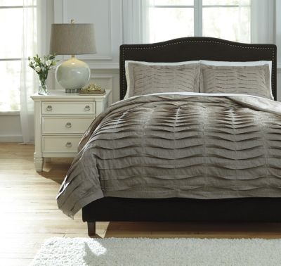 Ashley Voltos Brown 3-Piece King Duvet Set