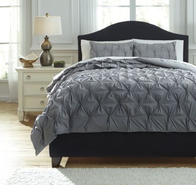 Ashley Rimy Gray 3-Piece Queen Comforter Set
