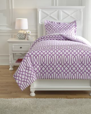 Ashley Loomis Purple 2-Piece Twin Comforter Set