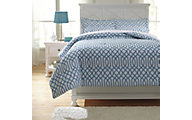 Ashley Loomis Aqua 3-Piece Full Comforter Set