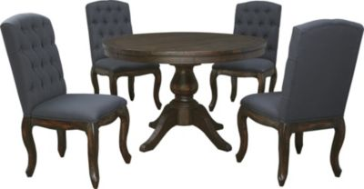 Ashley Trudell Pedestal Table 4 Upholstered Chairs