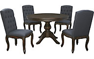 Ashley Trudell Pedestal Table & 4 Upholstered Chairs