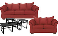 Ashley Darcy Microfiber Sofa, Loveseat & 3 Pack of Tables