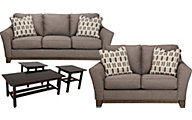 Ashley Janley Sofa, Loveseat & 3 Pack of Tables