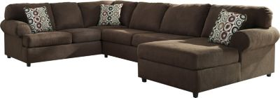Ashley Jayceon Right-Side Chaise Brown 3-Piece Sectional