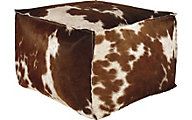 Ashley Tegan Leather Hide Pouf