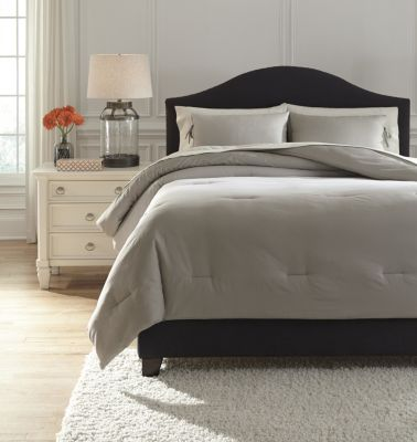 Ashley Aracely Taupe 3-Piece Queen Comforter Set
