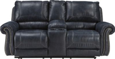 Ashley Milhaven Navy Reclining Loveseat with Console