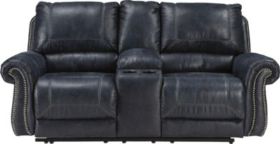 Ashley Milhaven Navy Power Loveseat with Console