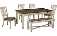 Ashley Bolanburg Table, 4 Chairs & 1 Bench
