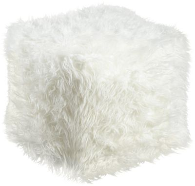 Ashley Himena White Faux Fur Pouf
