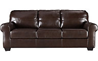 Ashley Canterelli Brown Leather Queen Sleeper Sofa