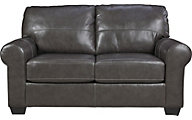 Ashley Canterelli Gray Leather Loveseat
