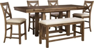 Ashley Moriville Counter Table, 4 Stools & 1 Bench
