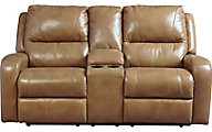 Ashley Roogan Leather Reclining Console Loveseat