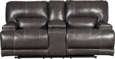 Ashley McCaskill Leather Reclining Console Loveseat