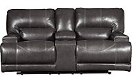 Ashley McCaskill Leather Power Reclining Console Loveseat