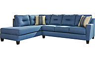 Ashley Kirwin Nuvella Blue Sleeper Sectional Sofa Chaise
