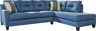 Ashley Kirwin Nuvella Blue Left-Side Sleeper Sofa Chaise