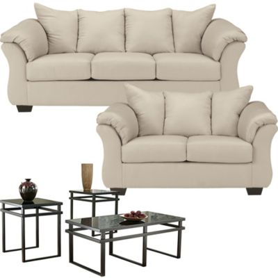 Ashley Darcy Stone Sofa Loveseat 3 Pack Of Tables Homemakers