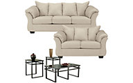 Ashley Darcy Stone Sofa, Loveseat & 3 Pack of Tables