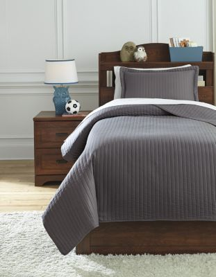 Ashley Raleda Gray 2-Piece Twin Coverlet