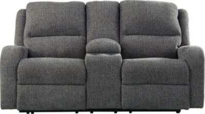 Ashley Krismen Gray Power Reclining Console Loveseat