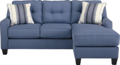 Ashley Aldie Nuvella Blue Queen Sleeper Sofa Chaise