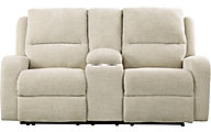 Ashley Krismen Cream Power Reclining Console Loveseat