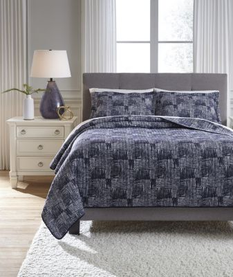 Ashley Jabesh Blue 3-Piece Queen Quilt Set
