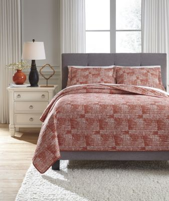 Ashley Jabesh Orange 3-Piece King Quilt Set