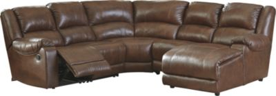 Ashley Billwedge Leather 5-Piece Reclining Sectional