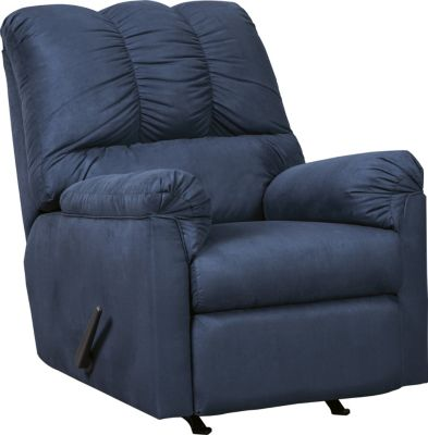 Ashley Darcy Microfiber Blue Rocker Recliner