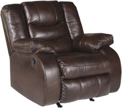 Ashley Neverfield Chocolate Leather Rocker Recliner