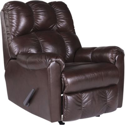 Ashley Denaraw Burgundy Leather Rocker Recliner