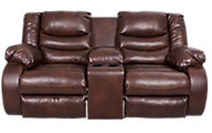 Ashley Linebacker Brown Reclining Loveseat with Console