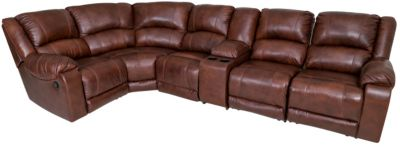 Ashley Billwedge 6 Piece Leather Reclining Sectional